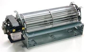 Querstromgebläse Ventilator für Kühlschrank, Gefrierschrank, Nachtspeicher, Motor links.